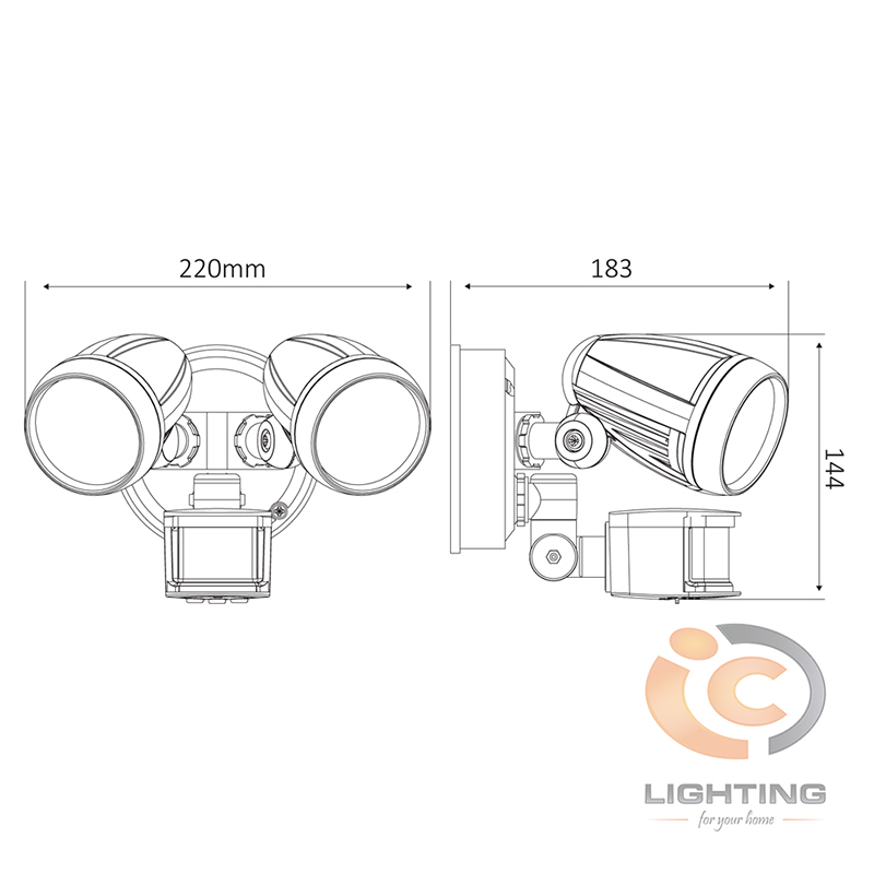 Domus Muro LED Twin Sensor Dimmensions