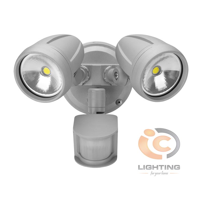 Domus Muro LED Twin Sensor Silver