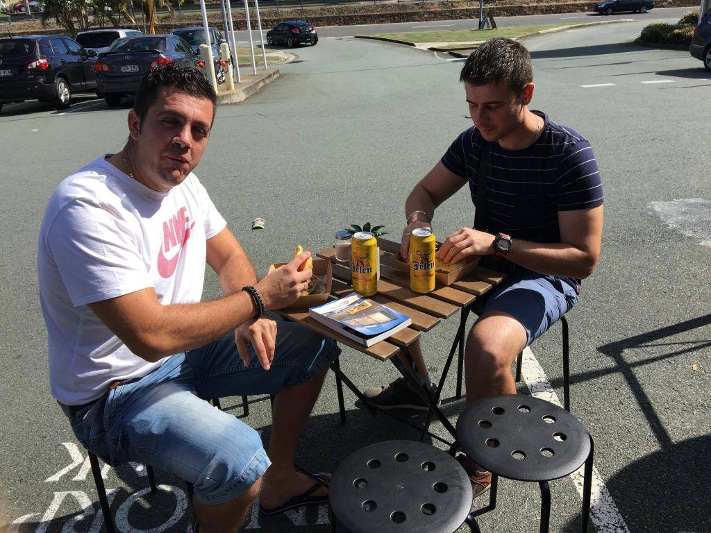 Boys having lunch