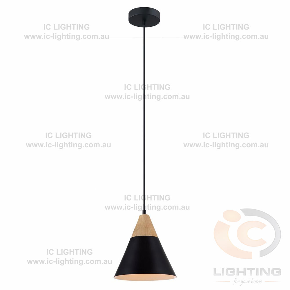 lampada bellini metal shade timber pendant light ic lighting