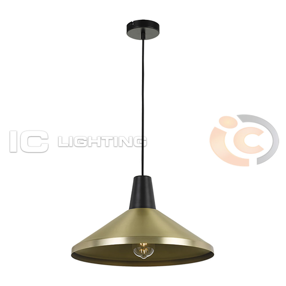 Telbix - Temo Medium Brass/Black Pendant Light – IC Lighting